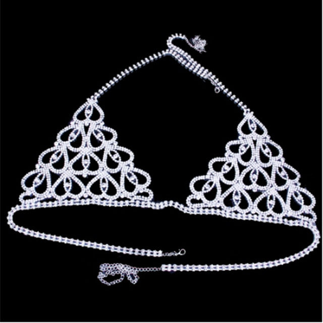 Luxury Lingerie Crystal Belly Body Chain Bra Thong Set Showgirl Sexy Glam Rhinestone Body Jewelry Bra knickers Panties Valentine