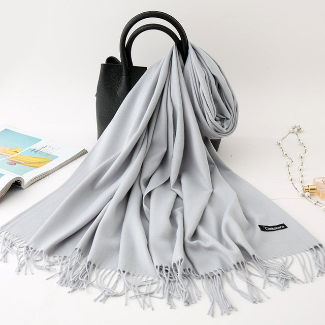 Hot Sale Men Cashmere Scarf Unisex Thick Warm Winter Scarves Black and Gray Gentleman's Bussiness Scarves foulard femme