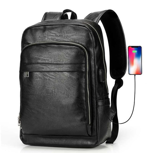 "USB Charge Men Backpack Business Bag for 15.6"" Laptop Travel Backpacks Large Capacity School College Zipper Male Backpack Solid"