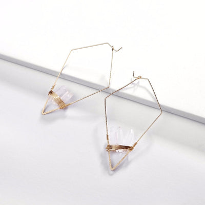 Fashion Gold Plating Geometric rhombic Copper Wire Hoop Earring With Natural Quartz Stone Earrings for Women