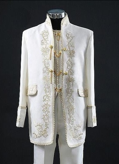 2018 Embroidery Groomsmen Tuxedos (Jacket+Pants+Vest) White Groom Wedding Men Suit Set Prom Mens Suits Blazers Terno Masculino