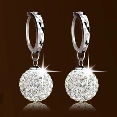 100% 925 sterling silver fashion shiny crystal Shambhala ball ladies`drop earrings jewelry women birthday gift Anti allergy