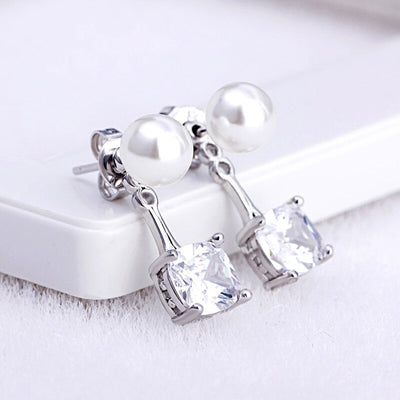 100% 925 sterling silver fashion imitation pearl crystal ladies`stud earrings jewelry female Anti allergy Christmas gift women