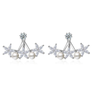Promotion Crystal flower stud earring female fashion elegant pearl earrings neckband earring 925 pure silver earrings jewelry