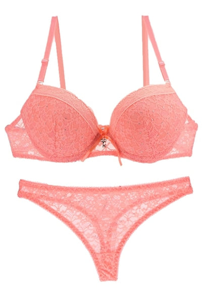 [Hot sales] New 2019 Lace Drill Bra Set Women Plus Size Push Up Underwear Set Bra And Thong Set 34 36 38 40 ABC Cup For Female