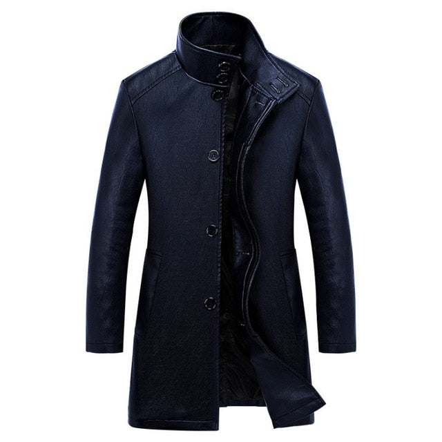 New Luxury Trench Leather Coat Mens Single breasted Business Casual Leather Jacket Male Black Long PU Coat Big Size 4XL
