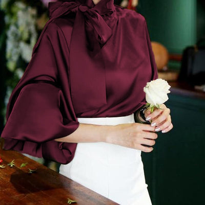 Celmia Plus Size Satin Blouse Women 2020 Fashion Top Elegant OL Bow Tie Neck Lantern Sleeve Office Shirt Casual Blusas Mujer 5XL
