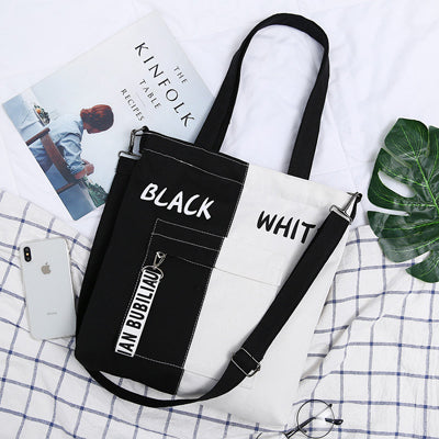 2019 New Brand Shopping Bag Casual Shoulder Bag Woman Vintage Cotton Canvas Bag Simple Large Cloth Shopper Bags Beach Totes