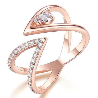Beiver Rose Gold Color AAA+ Cubic Zircon CZ Cluster V Letter Open Size Finger Ring