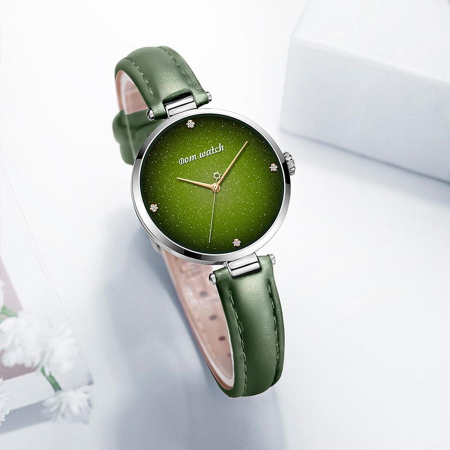 DOM Top Luxury Fashion Female Quartz Wrist Watch Elegant Green Women Watches Leather Waterproof Clock Girl Pattern Watch G-1292