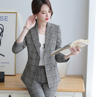 Professional wear women's suit Winter women's clothing 2019 temperament double-breasted plaid blazer Office pants set Two-piece