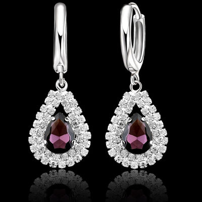 New Women 925 Sterling Silver Bridal Wedding Jewelry Sets Fine Water Drop Pendants Necklaces Earring Set Accessory