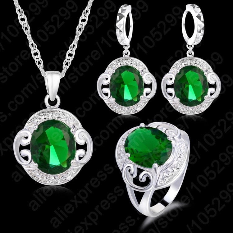 Free Shipping 925 Sterling Silver Emeral Pendant Necklaces Earring Sets For Brides/Women Wedding Engagement Jewelry Sets