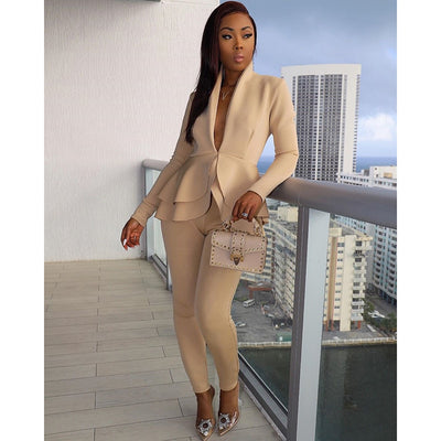 Women Sexy V Neck Tops and Skinny Pants Set 2 Two Piece Set Elegant Office Ladies Workwear Outfits Casual Tracksuit Plus Size