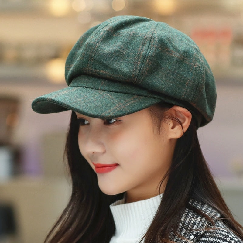 COKK Newsboy Cap Women Autumn Winter Octagonal Caps Artist Painter Hats For Women Men Beret Peaked Cap Female Male Vintage PLaid
