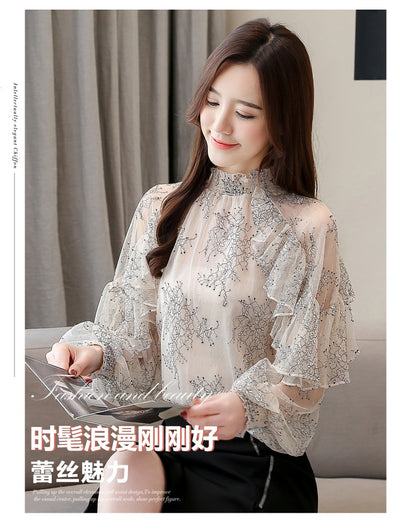 Dingaozlz Ruffles Lace Blouse 2019 New Elegant Casual  Printed Women Tops Fashion Perspective Chiffon shirt