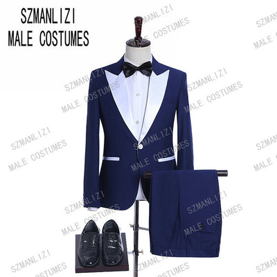 2020 Tailored Men Coat Pant Formal Double Breasted Men Suits Slim Fit Navy Blue Tuxedo Groom Blazer Wedding Suit Terno Masculino