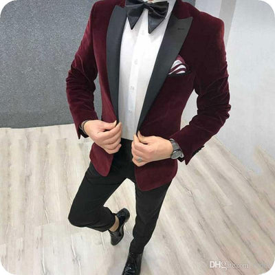 2020 Latest Coat Pant Designs Black Velvet Men Suit Slim Fit 2 Pieces Men Wedding Suits Groom Party Tuxedos Blazer With Pants