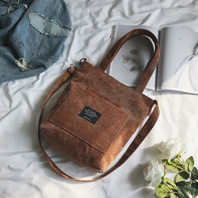 Women Corduroy Canvas Tote Ladies Casual Shoulder Bag Foldable Shopping Bags Beach Bag Cotton Cloth Female Handbag