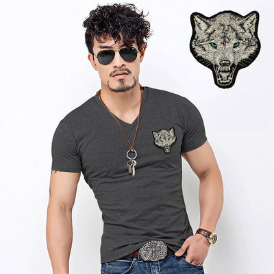 2020 Brand Men's Wolf embroidery Tshirt Cotton Short Sleeve T Shirt Spring Summer Casual Men's O neck Slim T-Shirts Size S-5XL