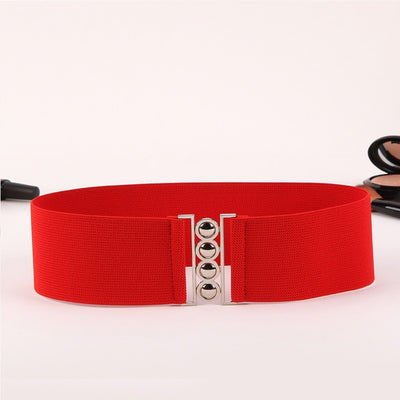 Fashion Stretch Wide Belt Women Designer Cinch Belt For Dress Female Luxury White Waistband Elastic Red Waist Cummerbund 19