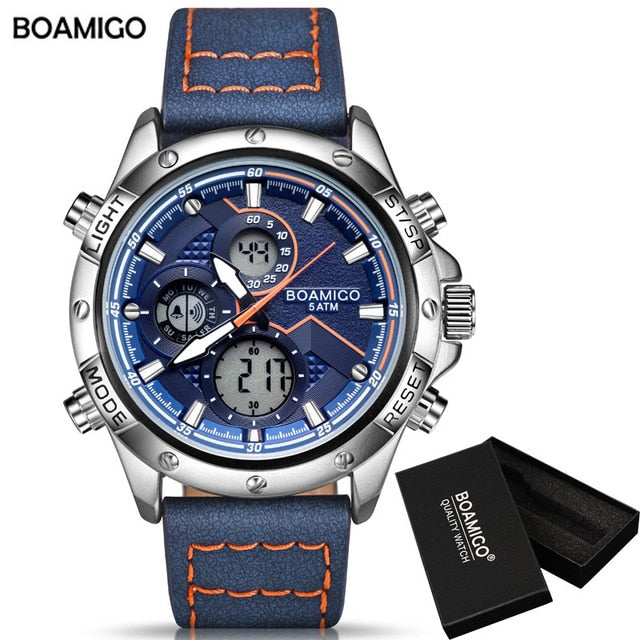 BOAMIGO Fashion Mens Watches men Military Digital analog Quartz Chronograph sport Watch  Waterproof wristwatch relogio masculino