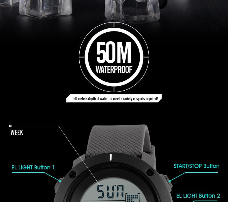 SKMEI Outdoor Sport Watch Men Multifunction Chronograph 5Bar Waterproof Alarm Clock Digital Watches reloj hombre 1213