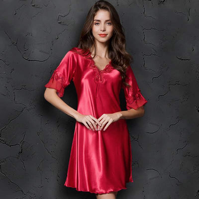 Sexy Women Satin Sleepwear Silk Nightgown Half Sleeve Embroidery Nightdress Sexy Lingerie Plus Size S M L XL XXL Female Nightie