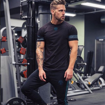 2018 New Cotton T Shirt Men Breathable T-Shirt Homme Gyms T shirt Men Fitness Summer Printing Gyms Tight Top Black Whit