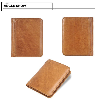 Genuine Leather Men Short Trifold Wallet Multi Slots Credit Card Holders Male Clutch Wallets Vintage Leather Purse Money Bags