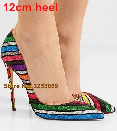 ALMUDENA Multi-Color Sequined High Heel Pumps Colorful Rainbow Stripe Bling Bling Dress Shoes Stiletto Heels Bling Bling Pumps