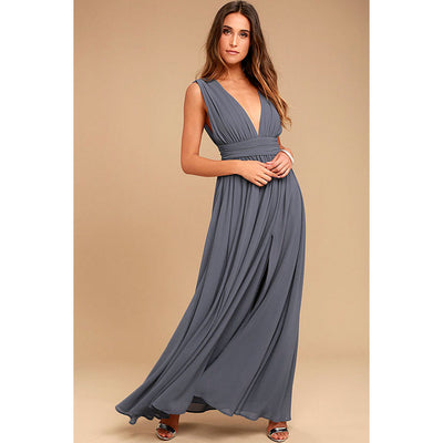 Women Long Maxi Dresses Bohemia V-neck Sleeveless Sexy Party Ethnic Fall Beach Female Split Stylish Style Dress Plus Size
