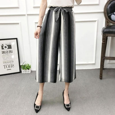 ETOSELL Women New Summer Wide Leg Pants Casual Loose High Elastic Waist Harem Pants Loose Belt Striped Elasticated Trousers