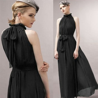 Womens Evening Party elegant fashion loose dress Formal Chiffon Sleeveless Prom Long Maxi dress robe femme dresses Lady frocks