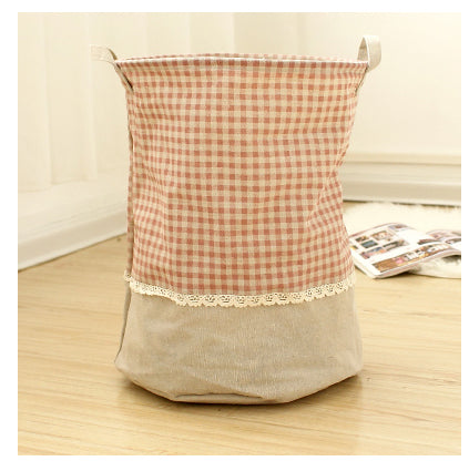 Zakka 3 Sizes The beam port Linen Multi-function Handle Stackable storage barrel Laundry basket Toy Storage box