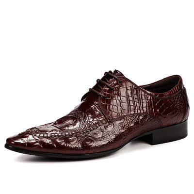 QYFCIOUFU 2019 Classic formal shoes men Fashion Style Genuine Leather oxford Dress Shoes italian Handmade Men's crocodile shoes