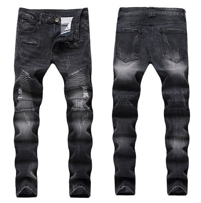 2020 Fashion Hip Hop Patch Men Retro Jeans Knee Rap Hole Zipped Biker Jeans Men Loose Slim Destroyed Torn Ripped Denim Man Jeans