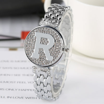 Letter R Crystal Diamond Unique Flip Cover Quartz Watch Fashion Bling Casual Ladies Bracelet Watch Golden Watch feminino relogio