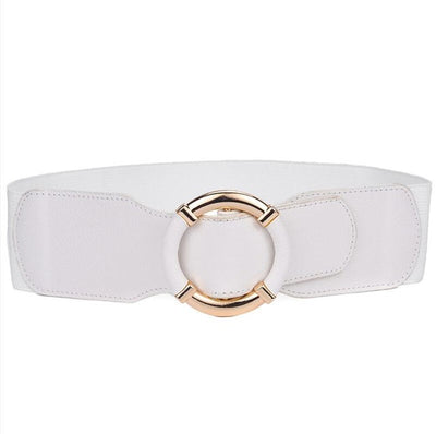 Beltox Women's Elastic Stretch Wide Waist Belts w Wrapped Gold Circle Buckle
