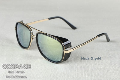 SU079-5643 Male Steampunk Sunglasses Tony Stark Iron Man Matsuda Sunglasses Retro Vintage Eyewear Steampunk Sun Glasses UV400