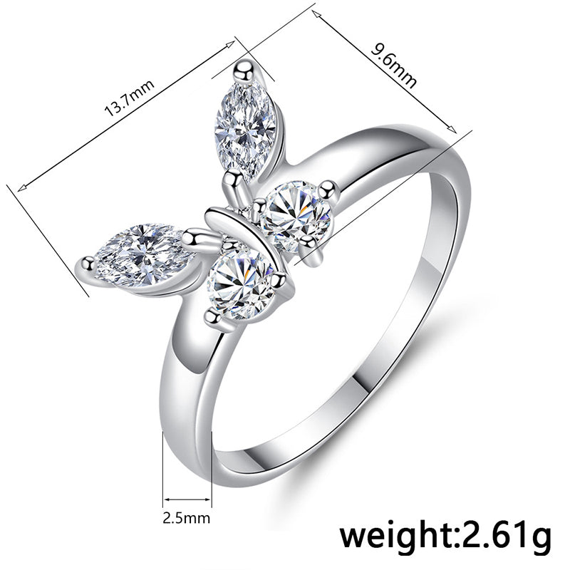 Beiver Butterfly Shining Crystal Zircon Ring for Women Princess Luxury Rings Jewelry Fashion Party Birthday Gifts Size 6-9