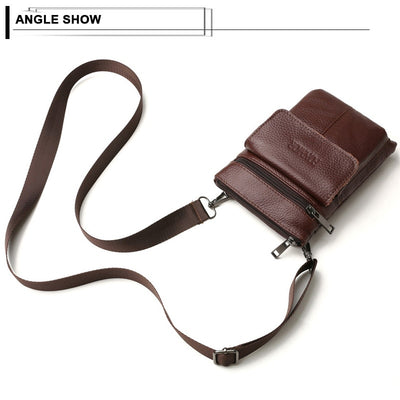 Genuine Leather Men's Crossbody Bags Cell Phone Messenger Bag Men Vintage Small Leather Travel Cigarette Cross Body Money Bags