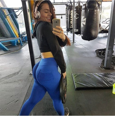 Women Fitness Push Up Leggings with Pockets Pants High Waist Workout Leggins Candy Color Leggings Pockets S-XL 3 Colors