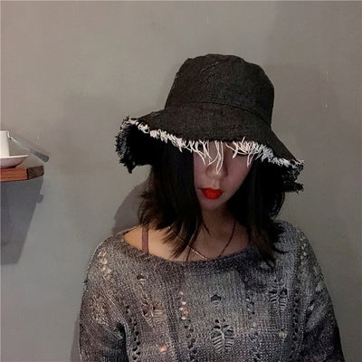 Summer Autumn Washed Denim Sun Hat Women Fashion Tassel Floppy Cap Ladies Wide Brim Beach Bucket Hats Female Cotton foldable