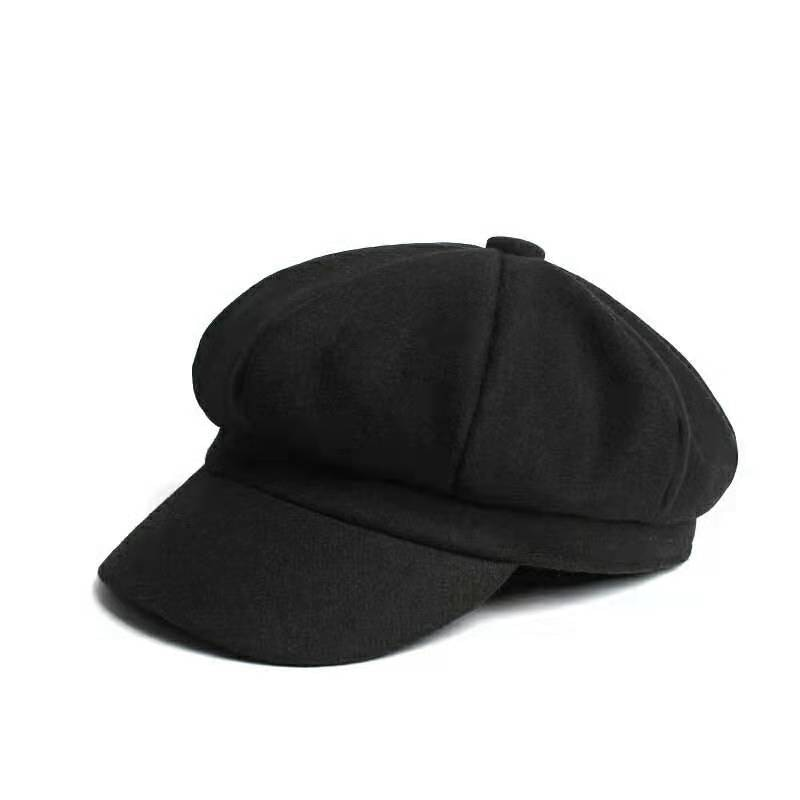 Women Autumn Winter Wool Beret Hat for Women Female Solid Octagonal Cap Black Red