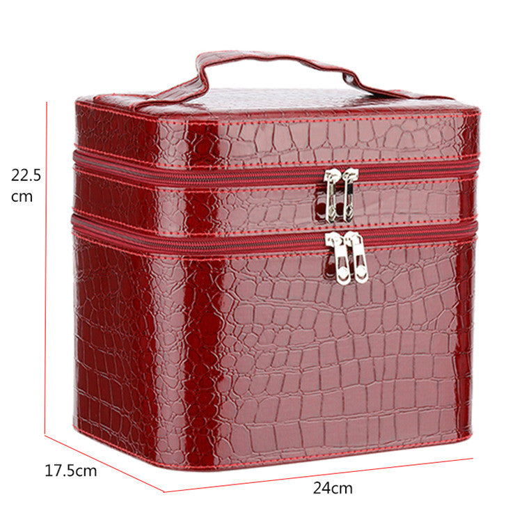 Women Alligator Cosmetic Box Designer High Quality Portable Cosmetic Bag Large Capacity PU Cosmetic Bag Women Makeup Dedicated