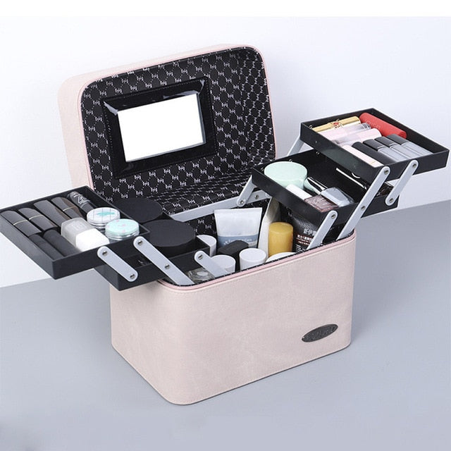 Cosmetic Bag PU Leather Large Capacity Women Makeup Bag Case Fashion Professional Make up Bags Organizer Storage Box Suitcase