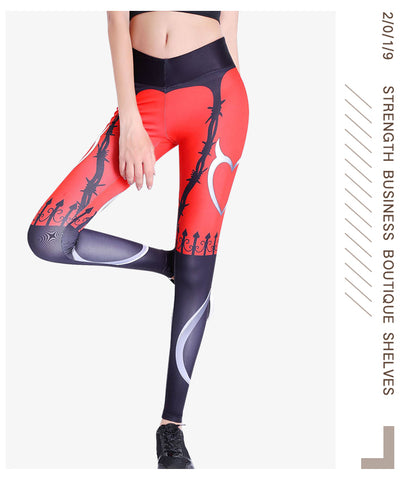 Sexy Push Up Leggings Women Devil Heart Printed Pants High Waist Gothic Leggings Workout Fitness Running Mujer Breathable Party