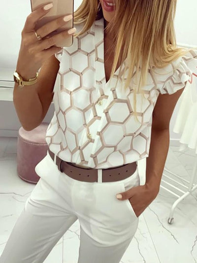 2020 Summer Women Elegant Work Wear OL Leisure Blouse Female Stylish Fashion Top V-Neck Print Ruffles Casual Shirt