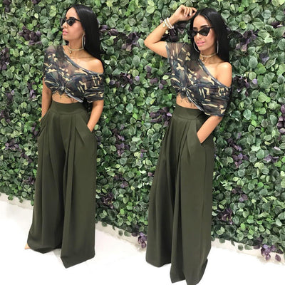 Women Casual Loose Palazzo Pants Autumn High Waisted Wide Leg Trousers Pleated Long Culottes Pants Elastic Waist Trouser Pockets